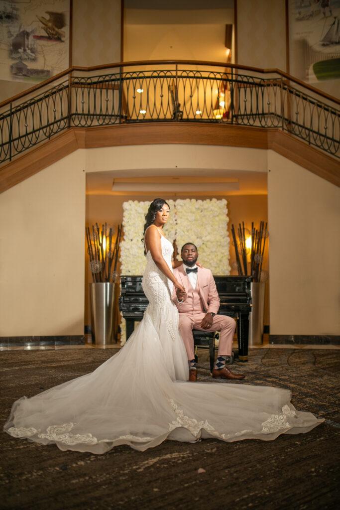 bride and groom lounge portraits