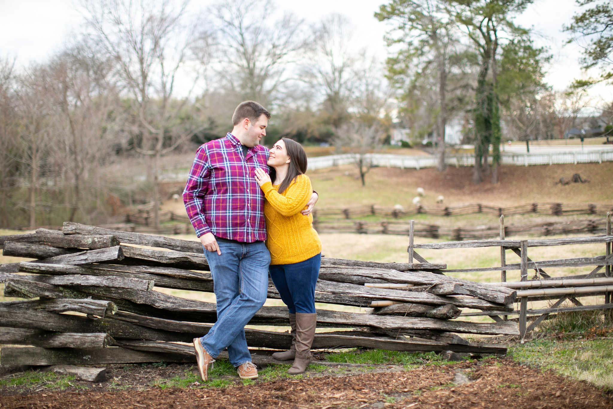 couple taking engagement photos